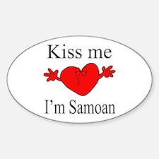 Kiss Me I'm Samoan Oval Decal