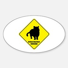 Shorthair Crossing Oval Decal