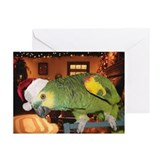 African grey christmas Greeting Cards (10 Pack)
