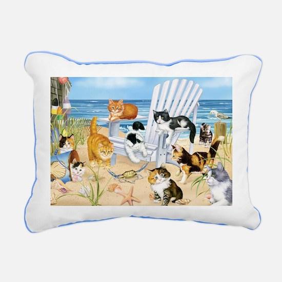 Kittens At The Beach Rectangular Canvas Pillow