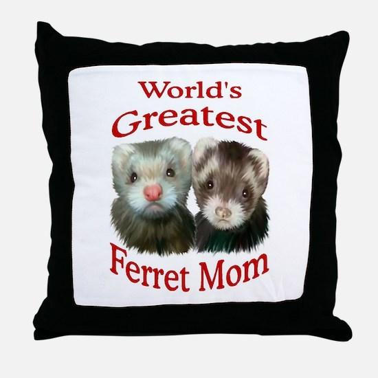 World's Greatest Ferret Mom Throw Pillow