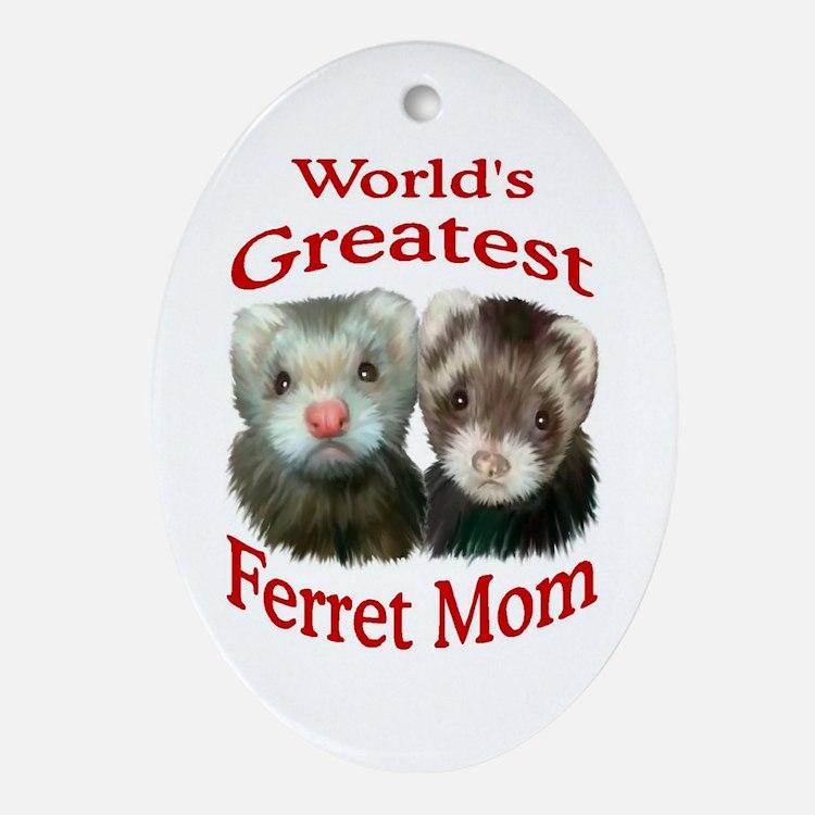 World's Greatest Ferret Mom Oval Ornament