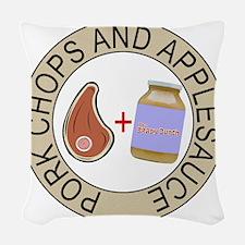 Pork Chops and Applesauce. Woven Throw Pillow