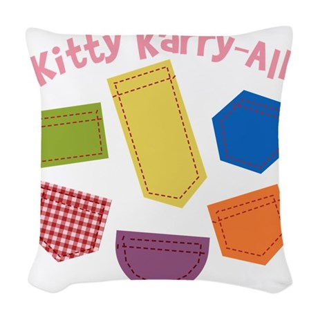 kitty-karry-all-patches Woven Throw Pillow