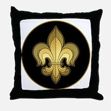 FleurWDgoldRbTR Throw Pillow