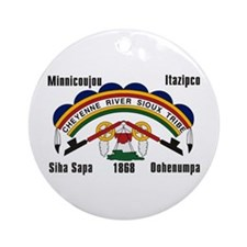 Cheyenne River Sioux Flag Ornament (Round)