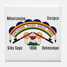Cheyenne River Sioux Flag Tile Coaster