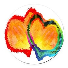 Lovey Dovey Hearts Round Car Magnet