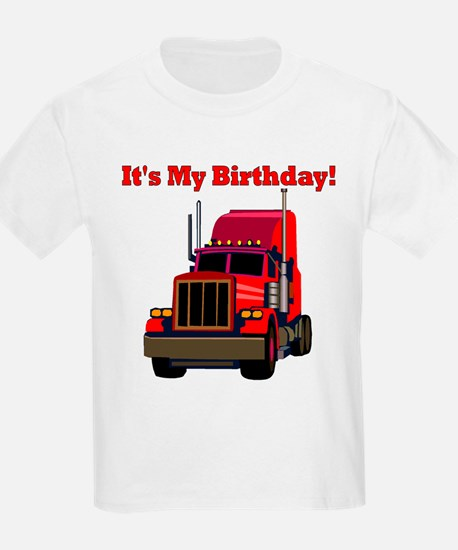 Semi Truck Birthday Kids T-Shirt