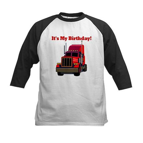 Semi Truck Birthday Kids Baseball Jersey