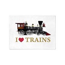 I LOVE TRAINS GOLD copy 5'x7'Area Rug