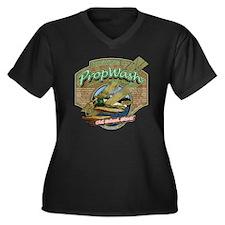 CAFE039OldSc Women's Plus Size Dark V-Neck T-Shirt