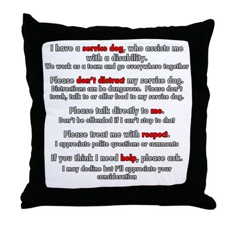 Service Dog Etiquette Throw Pillow by Admin_CP21932170