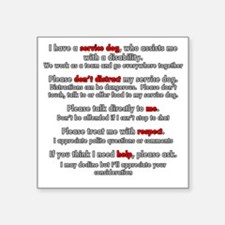 """Service Dog Etiquette Square Sticker 3"""" x 3"""""""