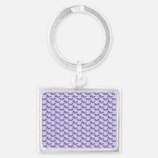 Trendy Purple Butterflies Landscape Keychain