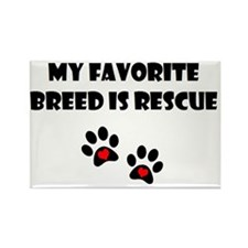 Favorite breed is rescue_paw prin Rectangle Magnet
