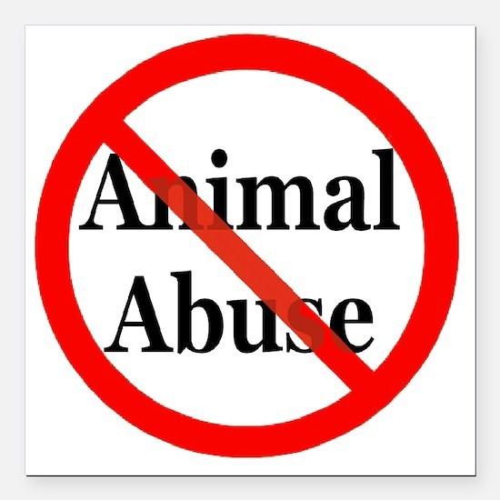 "no_animal_abuse Square Car Magnet 3"" x 3"""