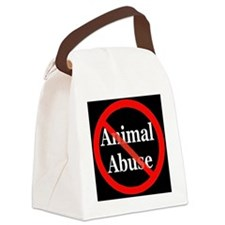 no_animal_abuse_black Canvas Lunch Bag
