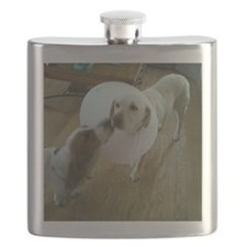 Get well soon cute Dog kissing sick puppy Flask