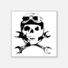"""Biker Skull B sw Square Sticker 3"""" x 3"""""""