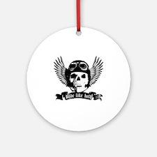 Biker Skull A sw Round Ornament