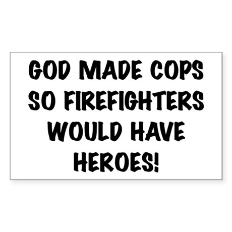 God Made Cops Rectangle Sticker