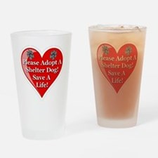 adopt_a_shelter_dog_white_transpare Drinking Glass
