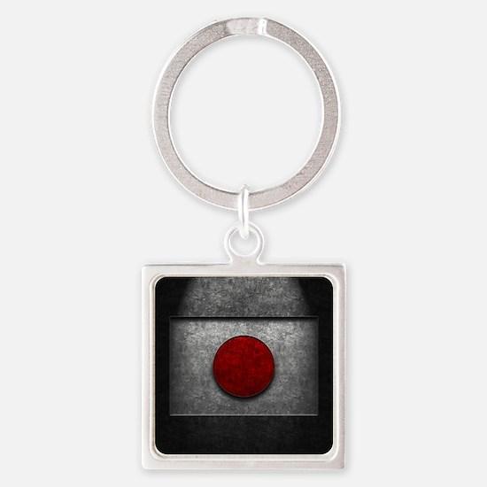 Japanese Flag Stone Texture Square Keychain