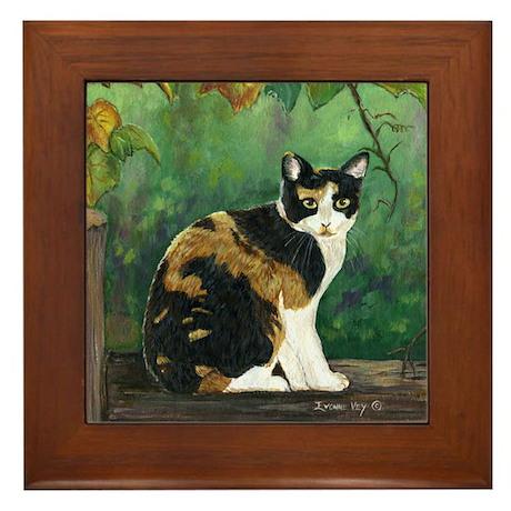 Calico Cat Framed Tile