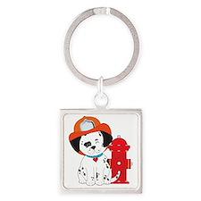 Dalmation Fire Dog Square Keychain