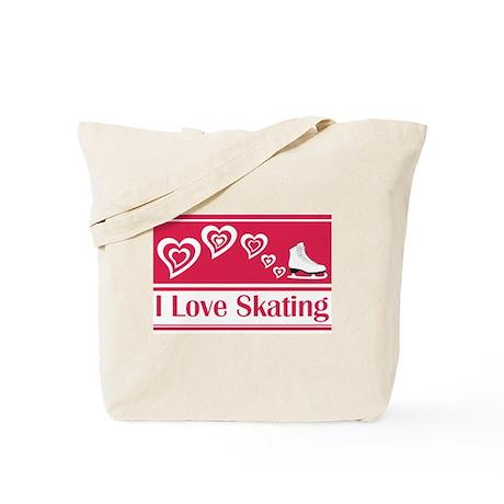 I Love Skating Red Ice Skate Tote Bag