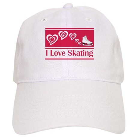 I Love Skating Red Ice Skate Cap