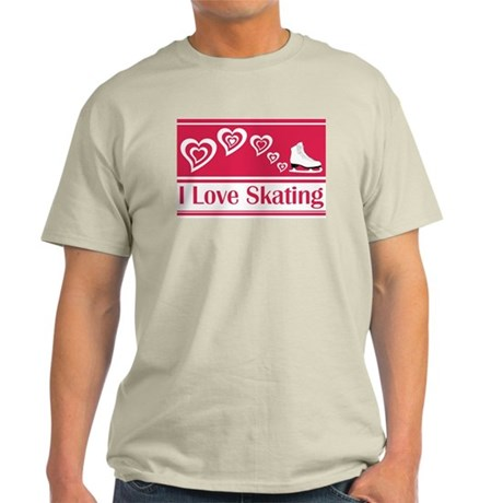 I Love Skating Red Ice Skate Light T-Shirt