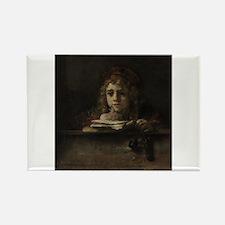 Titus at his desk - Rembrandt - c1655 Magnets