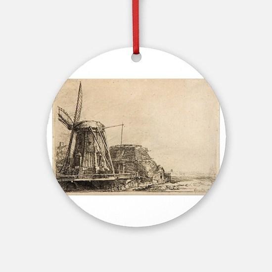 The Windmill - Rembrandt - c1641 Round Ornament