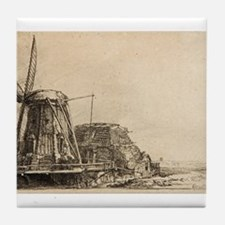 The Windmill - Rembrandt - c1641 Tile Coaster