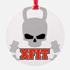 crossfit cross fit skull kettlebell dark Ornament