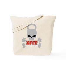 crossfit cross fit skull kettlebell dark Tote Bag