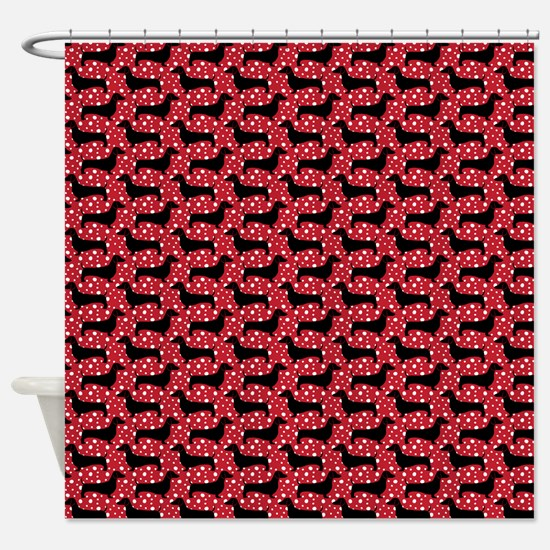 Red Polka Doxies Shower Curtain