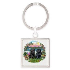 Garden-Shore-TwoBlackPugs15,22 Square Keychain