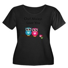owl7 Women's Plus Size Dark Scoop Neck T-Shirt
