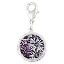 designer floral Silver Round Charm