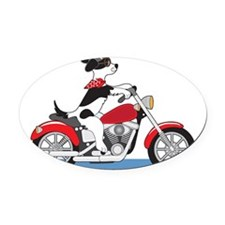 Dog Motorcycle Oval Car Magnet