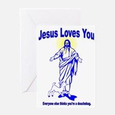 Jesus douche Greeting Card