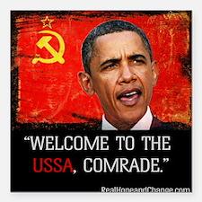 """Comrade Obama T-Shirt Square Car Magnet 3"""" x 3"""""""