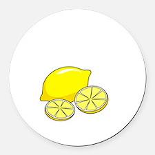 Free Lemons White Round Car Magnet