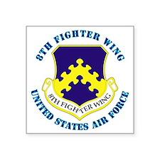 "8th-Fighter-Wing-txt Square Sticker 3"" x 3"""