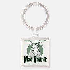 Mad Rabbit Shirt Front-black BG Square Keychain