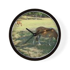 Haflingers Grazing Wall Clock