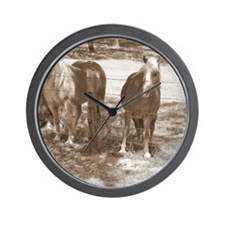 Haflingers in Black and White Wall Clock